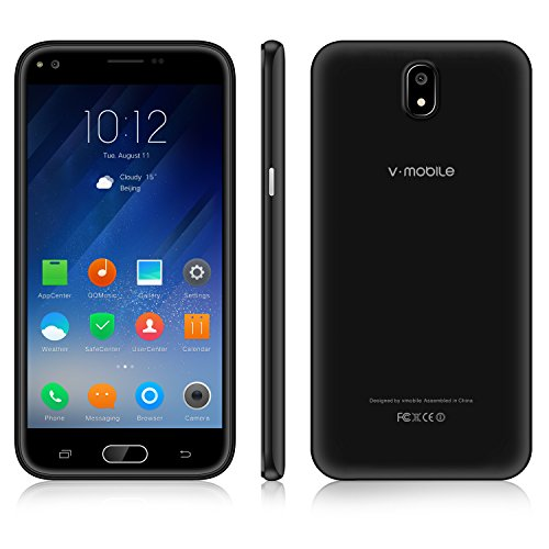 Unlocked Cell Phone,V Mobile J5-N 5.5 Inch 8GB ROM Android 7.0 Dual Sim 5MP Camera 3G Smartphone Cheap and Fine Quad-core Supports WI-FI Bluetooth GPS for at&T T-Mobile(Black)