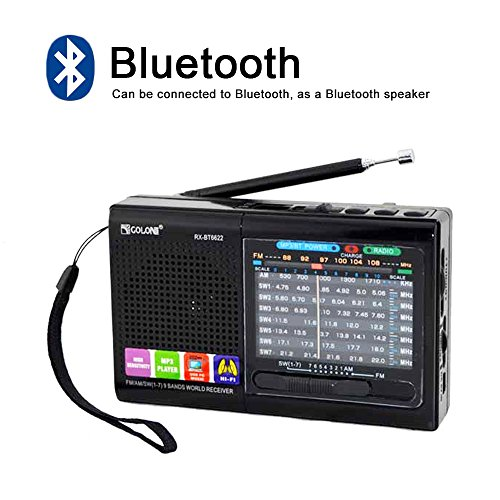 FM/AM/SW (1-7) 9-wave band Smart-US rechargeable portable professional radio that can be used as MP3 and speakers by connecting Bluetooth, USB sticks and memory cards (Black)