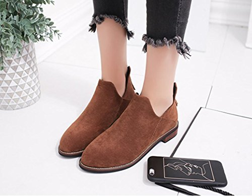 Ankle Martin erthome Brown Boots Artificial Women Warm leather Shoes Boots Solid Zip Buckle Ladies CwAqxRZ4