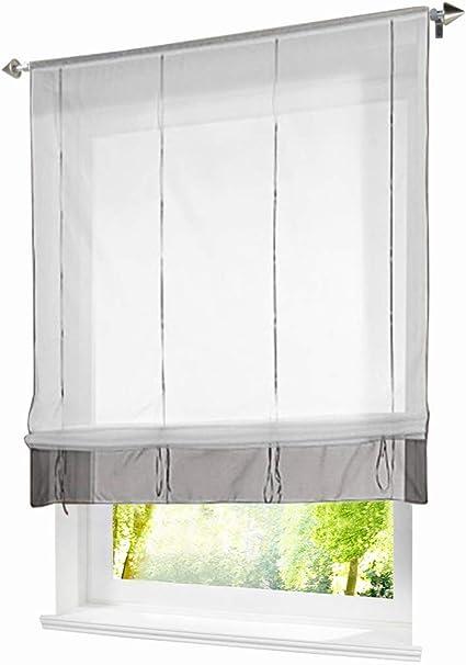 BAILEY JO 1Pc Store Romain Transparent LxH//100x140cm Blanc Passe Tringle avec Ourlet Rideau Voilage Raffrollo D/écoration de Fen/être Chambre//Salle de Bain//Balcon
