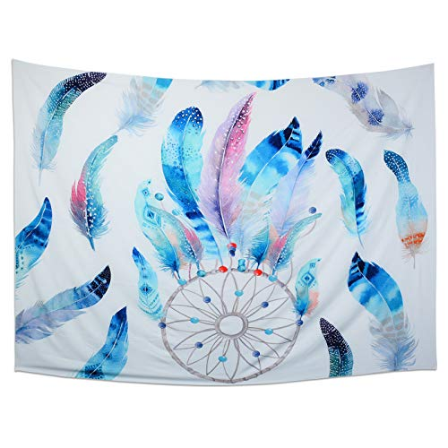 Gontic Dream Catcher Tapestry Wall Hanging Colorful Feathers Tapestry Hippie Tapestry Psychedelic Bohemian Feather Tapestries Wall Art for Bedroom Living Room Dorm Background Large Size 59 x79 inches