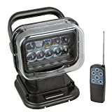 1pcs Black 12v 24v 50w 360º CREE LED Rotating Remote Control Work Light Spot for Hummer Jeep Off-road Vehicles Trucks Car Boat SUV Home Security Protection Emergency Lighting