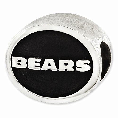 Sterling Silver Chicago Bears Charm - Mia Diamonds 925 Sterling Silver LogoArt Enameled Chicago Bears NFL Bead Charm for Charm Bracelet