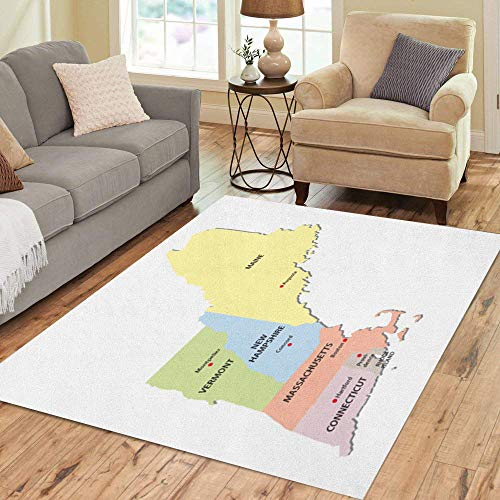 Pinbeam Area Rug Colorful Maine New England States Map Massachusetts Connecticut Home Decor Floor Rug 3' x 5' Carpet