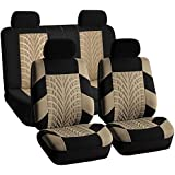 FH-FB071114-SEAT Full Set Travel Master Seat Covers Airbag Ready & Rear Split Bench Beige/Black Color-Fit Most Car, Truck, Suv, or Van