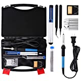 electric guitar repair kit - Electric Soldering Iron Kit - Housolution 60W 110V Temperature Controller Welding Tool Outdoor Portable Repair Tool Handle DIY Kit with Carry Case, 5pcs Tips, Desoldering Pump, Stand, Tweezers (Black)