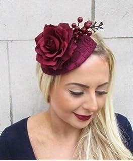 4b73df1862 Burgundy Deep Red Rose Berry Flower Fascinator Teardrop Races Hair Clip Vtg  4818