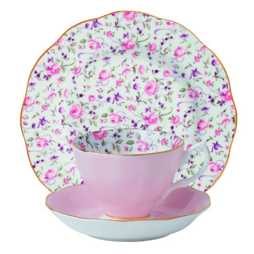 Royal Albert 8704025870 New Country Roses Teacup, Saucer and Plate Set, Rose Confetti ,3-Piece (Royal Albert Rose Confetti Teapot)