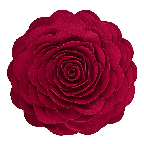 KING Rose Flower Handmade 3D Decorative Throw Pillow Wool Cushion for Sofa Chair Couch 13 Inches Round Red (Pillow Red Round)