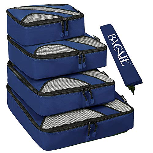BAGAIL 4 Set Packing Cubes,Travel Luggage Packing Organizers with Laundry Bag Navy -