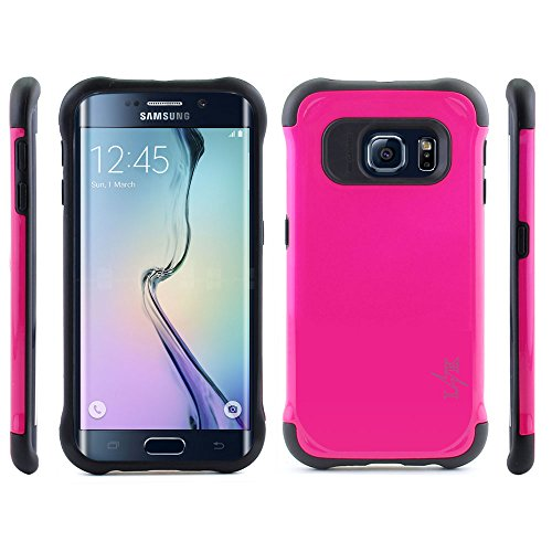 S6 Edge Case, LK [Shock Absorbent] Dual Layer Hybrid Armor Defender Rugged Hard Protective Case Cover For Samsung Galaxy S6 Edge, Hot Pink
