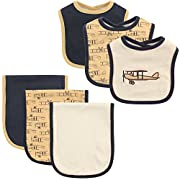 Hudson Baby 6-Piece Bib and Burp Cloth Set, Airplane