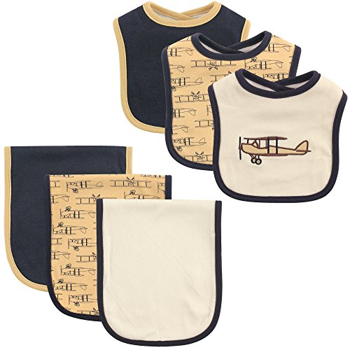 Hudson Baby 6-Piece Bib and Burp Cloth Set, - Pacifier Airplane