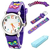 Vinmori Kid's Watch, with 3D Cartoon Butterfly Silicone Band Waterproof Quartz Watch Gift for Children(Purple)