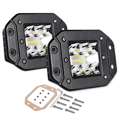 Flush Mount LED Pods, Swatow Industries 2PCS 80W Osram Triple Row Light Bar Spot Flood Combo Off Road Driving Light Waterproof LED Work Lights for Trucks Tractor SUV 4x4 ATV UTV - 2 Years Warranty