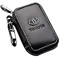 Black Leather Car Key Chain Coin Holder Zipper Case Remote Wallet Bag (Toyota)
