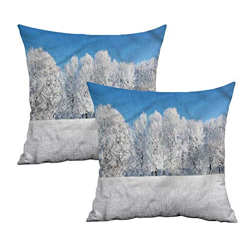 Khaki home Winter Square Pillowcase Covers Frozen Trees and Fields Square Body Pillowcase Cushion Cases Pillowcases for Sofa Bedroom Car W 24