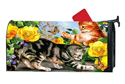 Custom Mailbox Cover Magnetic, MailWrap Mailbox Makeover Cover, Weatherproof Vinyl with Magnetic Strips 6.5 x 19 inches - Cute Kitty Flowers Cat -