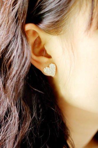 Ravewan Shop Heart Love Gold Crystal Rhinestone Lady Women Stud Earrings Gifts