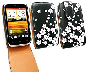 Emartbuy Htc Desire ® C Lujo Pu Leather Flip Case / Portada / Funda White Blossom Y Protector De Pantalla