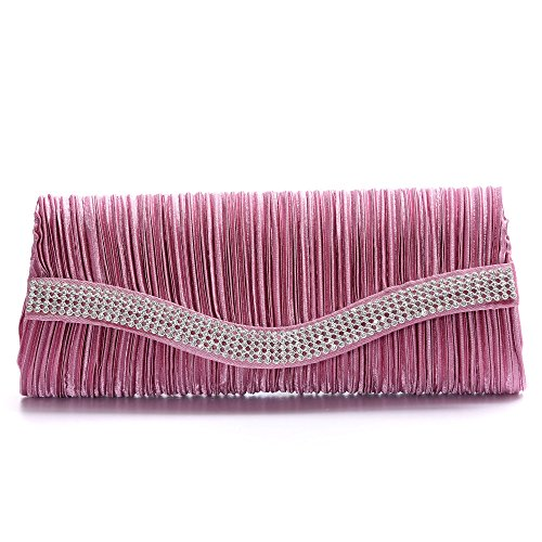 womens-satin-pleated-evening-handbag-envelope-cocktail-wedding-party-clutchbean-red-color
