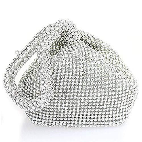 Mini Hand Pouch Diamante Bag Silver Diamond Soft Wrist Wedding Evening Shaped Crystal Handbag Purse Clutches Bag FEP11q