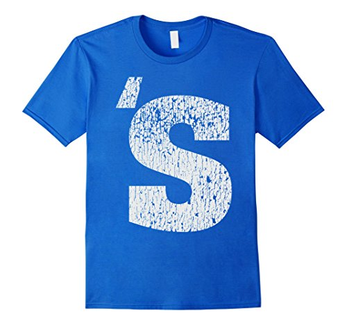 Mens Distressed Letter S Halloween Easy Costume T shirt 2XL Royal Blue - Easy Throwback Costumes