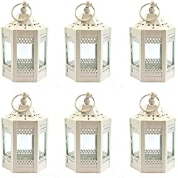 "6pc 4.5"" Metal Tealight Mini White Candle Lanterns"