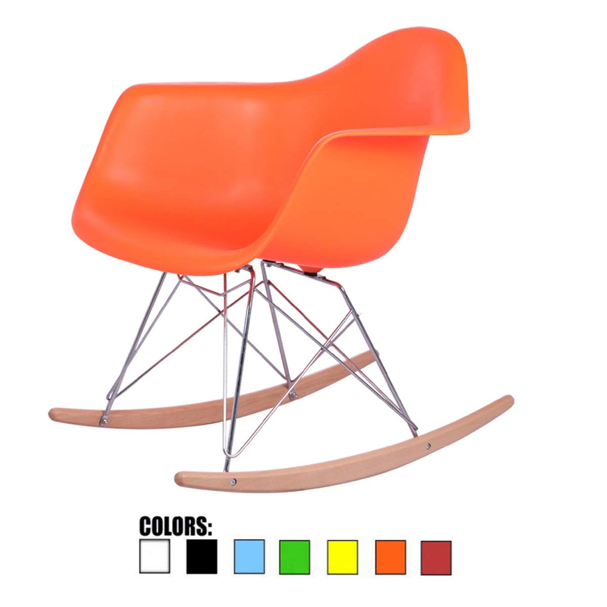 orange Rocking Chair, Creative Lazy Balcony Lounge Chair, Mid-Century Modern Contemporary Style,Plastic Accent Lounge Desk Rocker Furniture for Living Room, Outdoor Indoor Coffee Chair Bedroom Wood Legs