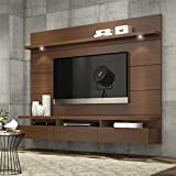 """Theater Entertainment Center 70"""" Plasma TV Console Stands Brown Wood Livingroom Furniture Storage Flat Television Cabinet with Mounts"""