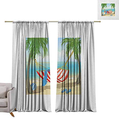berrly Thermal Insulating Blackout Curtain Beach,Hammock Between Palm Trees on Beach Cartoon Style Illustration Digital Composition, Multicolor W84 x L96 Waterproof Window Curtain (Palm Gardens Beach Store Hardware)