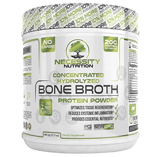 Bone Broth Protein Powder - Natural & Pure Paleo/Keto Friendly Gluten Free - Grass Fed Pasture Raised Non GMO - Premium Gut Health Nutrition High Quality Collagen F/Skin 22 servings 17.3oz Best (Nutrition Presents)