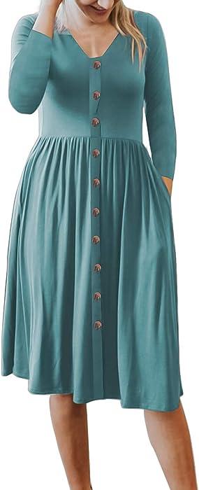 bfe9b20e8e0 MEROKEETY Women s 3 4 Sleeve Casual V Neck Button Down Swing Midi Dress  with Pockets