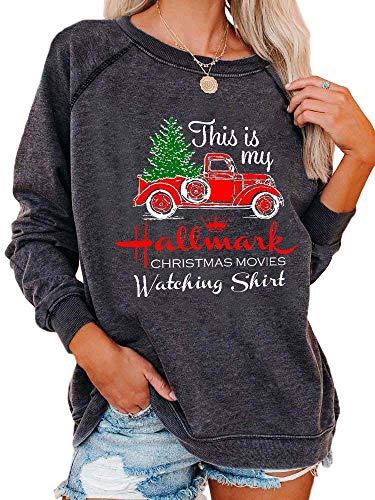 Akyzic Women Christmas Long Sleeve Top Tee This is My Christmas Movie Watching T Shirts