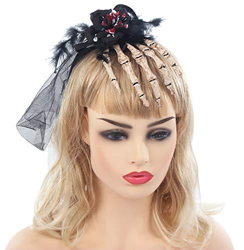 Halloween Party Novelties Headband Skeleton Hand Veil Blood Costumes Cosplay Hair Accessories (Skeleton) -