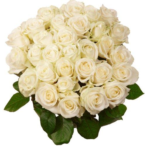 Blumenversand - Blumenstrauß - zum Geburtstag - Premium Rosen in weiß - 10 Stück im Bund - Länge ca. 60cm - mit Gratis - Grußkarte zum Wunschtermin versenden