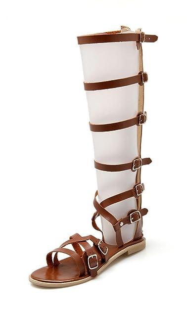 MissSaSa Damen Zehentrenner keilabsatz thong Sandalen mit Reißverschluss bequem Europa und USA Stil Wedge Römersandalen (34, Braun)