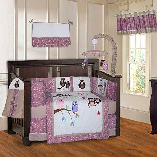 BabyFad Owl Pink 10 Piece Baby Crib Bedding Set [並行輸入品]   B07CTD1KL2