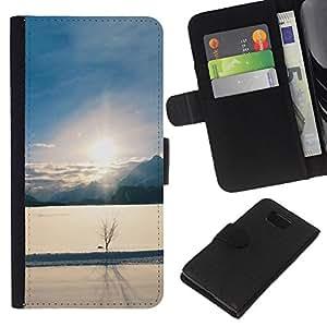 JackGot ( Paesaggio invernale ) Samsung ALPHA G850 la tarjeta de Crédito Slots PU Funda de cuero Monedero caso cubierta de piel