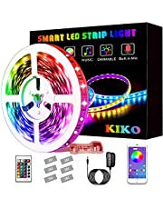 Led Lights, KIKO 21.3ft/6.5m Smart RGB Led Lights Strip for Bedroom with Bluetooth and Remote Controller Led Light Strips Sync to Music