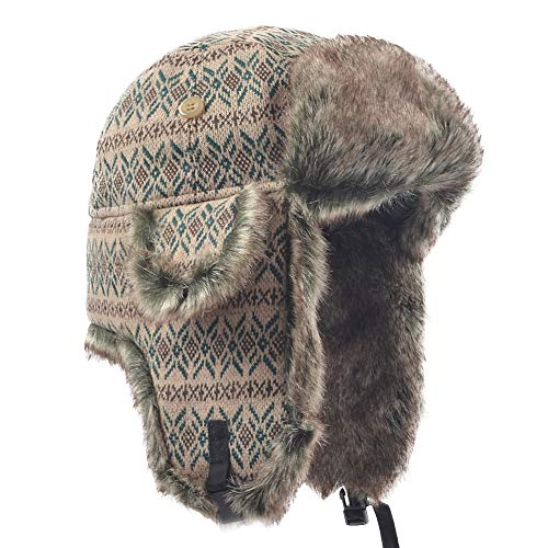 Janey&Rubbins Winter Faux Fur Ushanka Cossack Russian Hunting Trapper Hat for Men and Women (M, Green/Knitted) ()