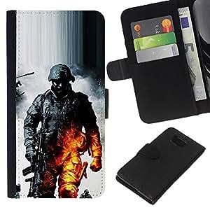 EJOY---La carpeta del tirón la caja de cuero de alta calidad de la PU Caso protector / Samsung ALPHA G850 / --Soldado Bttlefield