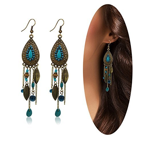A&J. Women Vintage Retro Ethnic Drop Bohemian Dangle Earring Lolita Antique Bead Tassel (Antique Womens Beads)