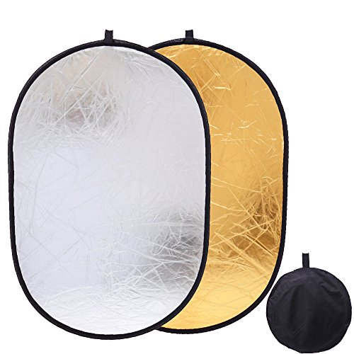 Collapsible Gold&Silver Oval Reflector 35'' x 47'' Light Reflectors Disc for Soft Box Lighting Photo Photography Video Studio by Konseen