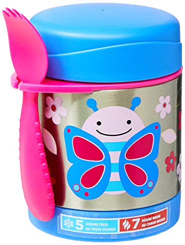 (Skip Hop Baby Zoo Little Kid and Toddler Blossom Butterfly Insulated Food Jar and Spork Set, Multi, 11 fl oz)