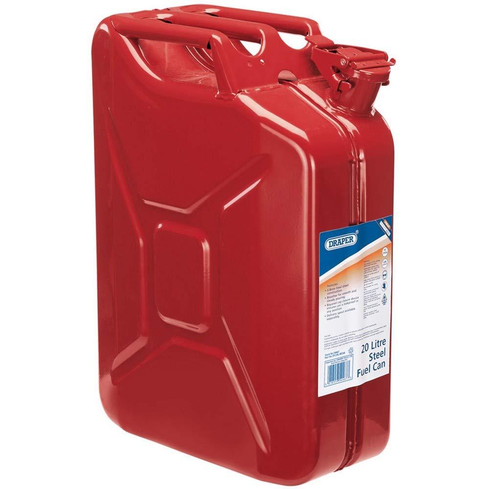Draper Mé tal Jerrican pour essence ou diesel Fuel Rouge 20 litre 54467