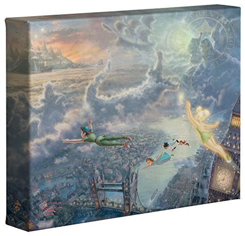 Thomas Kinkade Tinker Bell and Peter Pan Fly to Neverland 8 x 10 Gallery Wrapped Canvas ()