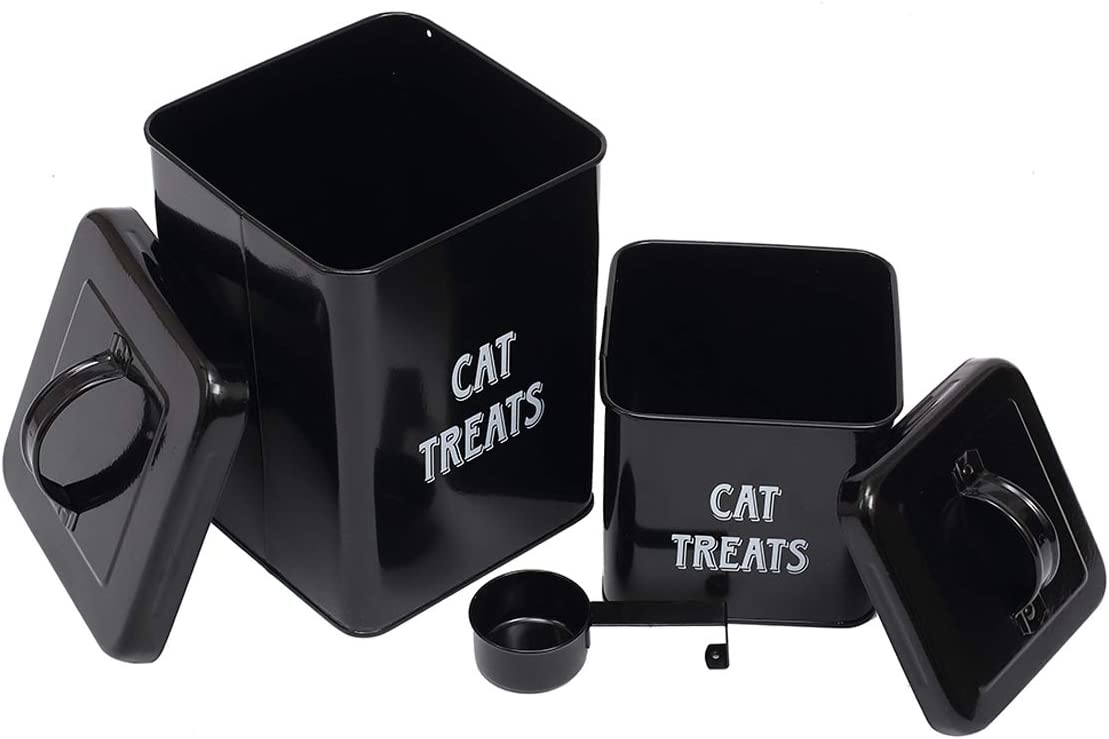 Xbopetda Large Dog Food Storage Canister Cat Food Storage Container Set with Scoop for Cats or Dogs - Black Powder - Coated Carbon Steel - Tight Fitting Lids - Food Storage Canister Tins