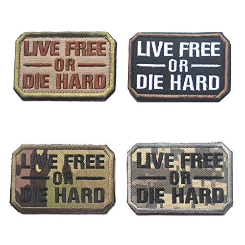 Military Die - Live Free or Die Tactical Combat Badge Military Hook and Loop Badge Embroidered Morale Patches