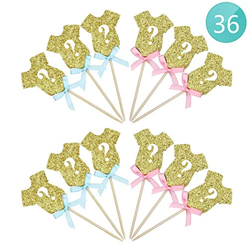 Gender Reveal Cake Topper 36-Pack Boy or Girl Reveal Cupcake Decor Gold Glitter Cupcake Toppers for Baby Shower Birthday Party Cake Decorations Supplies, Pink & Blue Bow Ribbon]()